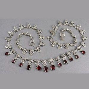 Vintage Sterling Garnet Marcasite Necklace